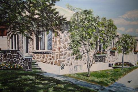 Sa maison vue par une peintre, selon la vision de Christiane, dans sa période d'enfance